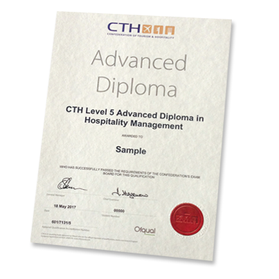 Cth level 5 diploma in hospitality management cth level 5 diploma in hospitality sample certificate fandeluxe Image collections