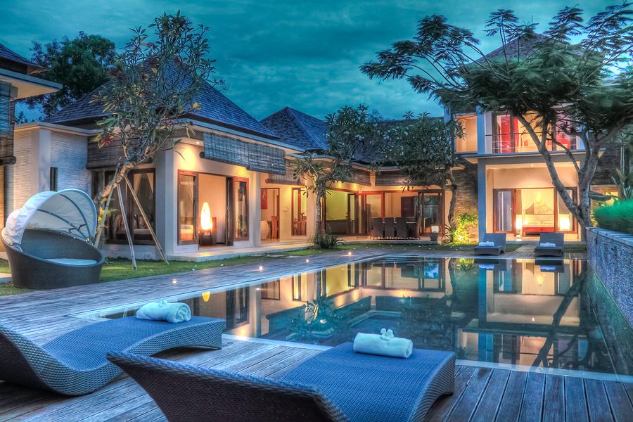 Tropical villa sunset