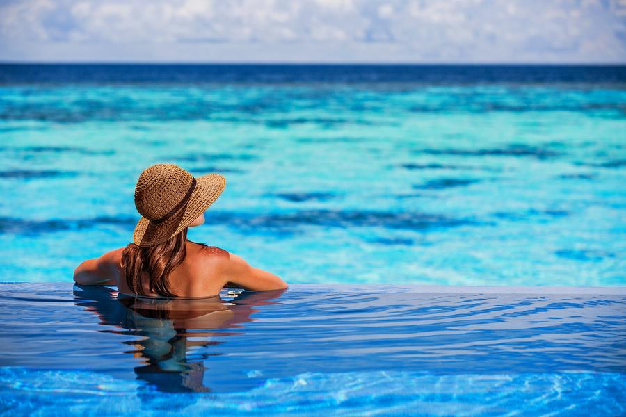 Relaxing on beach resort