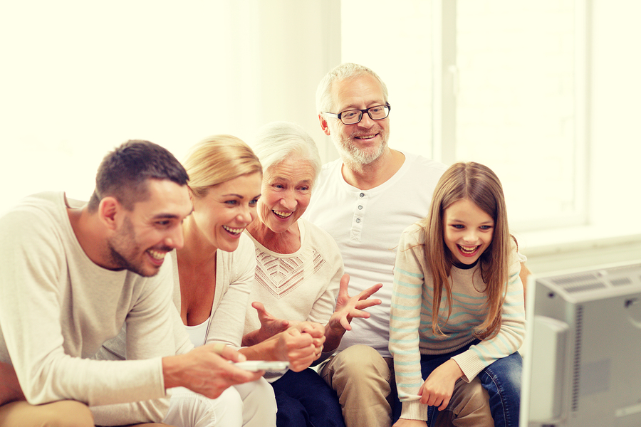 family, happiness, generation and people concept - happy family