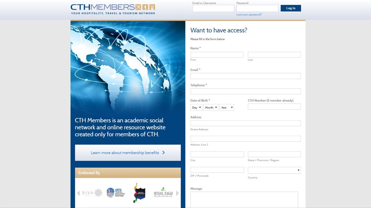 The new CTH Members' login page