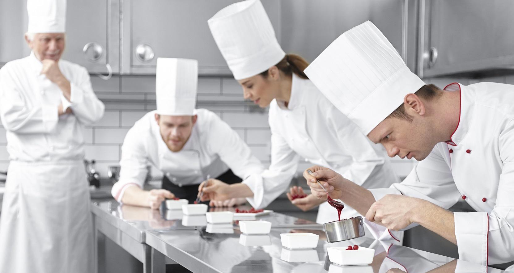 Chef decorating desserts