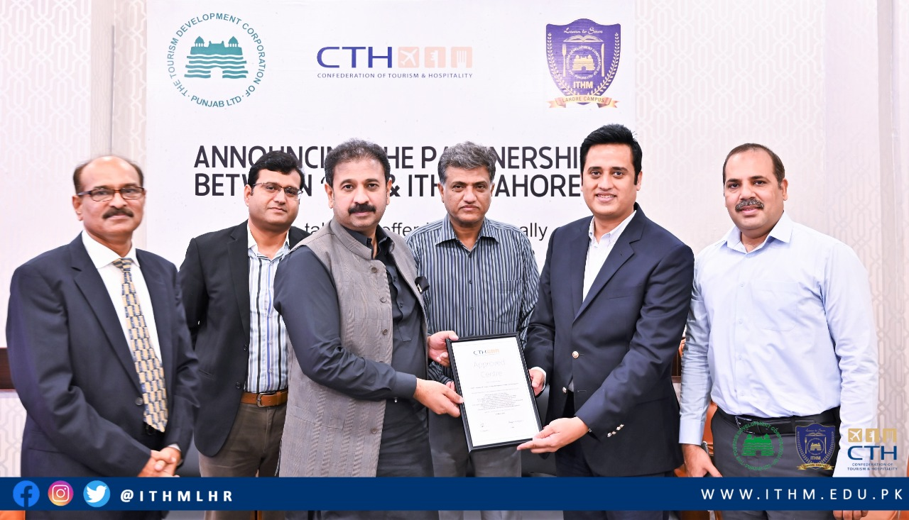 Representatives from ITHM in Lahore, Pakistan holding a CTH Teaching Centre approval certificate